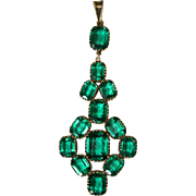 Fine Antique Early Victorian sterling silver and colombian green paste pendant - circa 1850