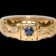 Antique Victorian 18 carat yellow gold, sapphire and diamond gypsy ring - circa 1880