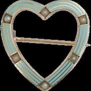 Antique Riker Brothers 14 carat gold blue enamel seed pearl heart pin/brooch