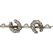 Fine Antique Victorian 18 carat rose gold, silver, diamond and pearl lucky horseshoe bar brooc