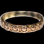 Antique Victorian 9 carat rose gold star band ring - circa 1880