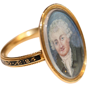 Fine Antique Georgian 18 carat gold portrait and black enamel mourning ring - English, 1780