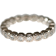 Vintage Art Deco platinum and diamond wedding eternity ring 0.50 tcw US size 4 ...