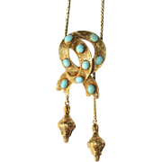 Fine Antique Victorian 18 carat gold and turquoise sentimental lovers knot slider necklace - .