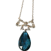 Fine Vintage Art Deco 18 carat gold, platinum, diamond bow and rare blue tourmaline drop ...