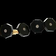 Fine Antique Victorian 18 carat yellow gold, silver, onyx and diamond cufflinks - circa 1860
