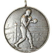 Unique Vintage Art Deco Sterling Silver Boxing Medallion pendant - dated March 1933