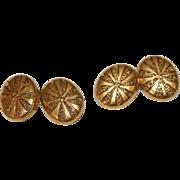 Fine Antique Victorian 15 carat yellow gold hand engraved cufflinks - circa 1870