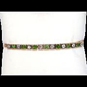 Fine Antique Victorian Demantoid garnet, Diamond, 18 carat gold and silver bracelet - circa ..