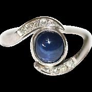 Fine Art Deco platinum, cabachon sapphire and diamond twist ring - circa 1935