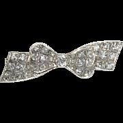 Superb Antique Edwardian Platinum and diamond bow pin brooch est tcw 2.41 carats - circa ...
