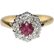 Fine Vintage Art Deco 18 carat gold Natural Ruby and diamond cluster ring - circa 1935