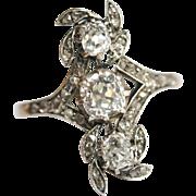 SENSATIONAL Fine Antique Austro-Hungarian 14 carat gold, silver and diamond ring est. tcw 1 ..