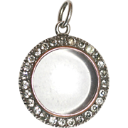 Unique Antique Edwardian era sterling silver, 9 carat ROSE GOLD and paste MAGNIFYING locket ..