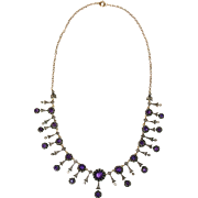 Fine Antique Victorian 18 carat gold, silver, diamond and amethyst necklace and earring set -