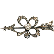 CHARMING Antique Georgian 18 carat rose gold and rose cut diamond clover and arrow brooch ...