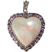 SPECIAL Fine Antique Victorian 9 carat rose gold, silver and amethyst heart pendant with LARGE