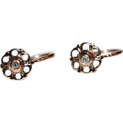 Fine Antique 18 carat rose gold and diamond earrings - circa 1860