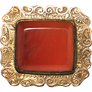 Fine Antique Victorian 9 carat gold and carnelian brooch - circa 1890