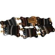 Unique Antique Victorian pinchbeck and carved banded agate bracelet - circa 1880