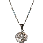 Antique Art Nouveau Lucien Coudray silver medallion pendant and Edwardian sterling silver and