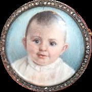 Rare Antique Austro-Hungarian 14 carat gold, silver and diamond baby portrait brooch - circa .
