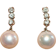 Classic Vintage Platinum diamond and cultured pearl drop earrings - circa 1950