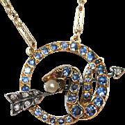 Unique and Rare Fine Antique Victorian 18 carat gold, silver, MONTANA sapphire, diamond, ruby
