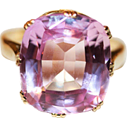 Antique Victorian 18 carat yellow gold and synthetic pink sapphire conversion ring - circa 188