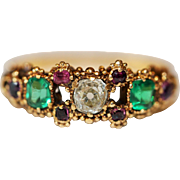 Superb and rare Antique late Georgian/early Victorian 18 carat gold, diamond, ruby and green .