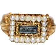 Stunning Antique Georgian 18 carat yellow gold, pearl and woven hair mourning ring with ...