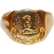 Antique English 18 carat yellow gold family crest signet ring - Faithful by land and sea ...