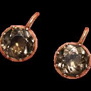 Fine antique Georgian 9 carat rose gold and smoky quartz cufflinks conversion earrings - circa