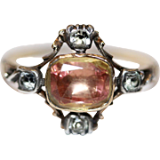 SENSATIONAL Fine antique Georgian peach pink foiled back citrine and white paste ring - Englis