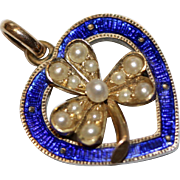 Fine Antique Edwardian 15 carat gold pearl and blue enamel shamrock and heart pendant/charm ..