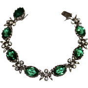 Stunning Antique late Victorian silver and green and white paste bracelet - circa 1900
