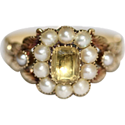 Boxed Fine Antique Georgian 18 carat yellow gold, topaz and pearl cluster ring - circa 1820 ..