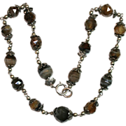 """Antique 18"""" Victorian Scottish silver and faceted agate bead necklace - circa 1870"""