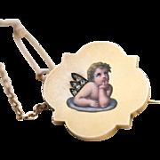 Antique Victorian 18 and 14 carat gold, enamel and rose cut diamond Cherub/Cupid brooch ...