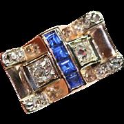 Amazing Vintage Retro 18 carat gold Sapphire and diamond ring - circa 1940