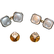 Vintage Art Deco 18 carat and 9 carat gold mother of pearl cufflink and shirt ...