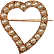 Sweet antique French 18 carat yellow gold pearl witches heart brooch pin - dated 1892