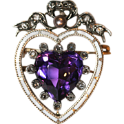 Sensational Antique Victorian 18 carat gold and silver amethyst, diamond and enamel heart ...