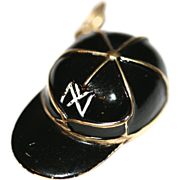Vintage 3D 14 carat yellow gold and enamel New York Yankees hat/baseball cap charm ...