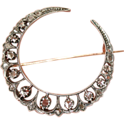 Fine Antique Victorian 18 carat gold and silver rose cut diamond moon crescent brooch - circa