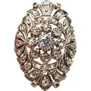 Large Antique Portuguese 19.2 carat gold and silver Diamond ring - circa 1900