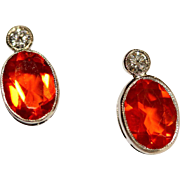 Vintage Art Deco Platinum, Fire opal and Diamond stud earrings - circa 1930