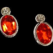 Vintage Art Deco Platinum, Fire opal and Diamond stud earrings - circa 1930