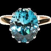 Antique Victorian 18 carat gold and silver blue zircon ring est. 6.15 carats - circa ...