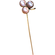 Antique Victorian 18 carat yellow gold moonstone and diamond clover/shamrock stick pin - circa
